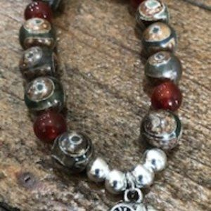 DZI Bead Bracelet with Elephant Charm